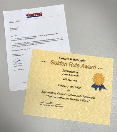 Golden Rule Award and Letter